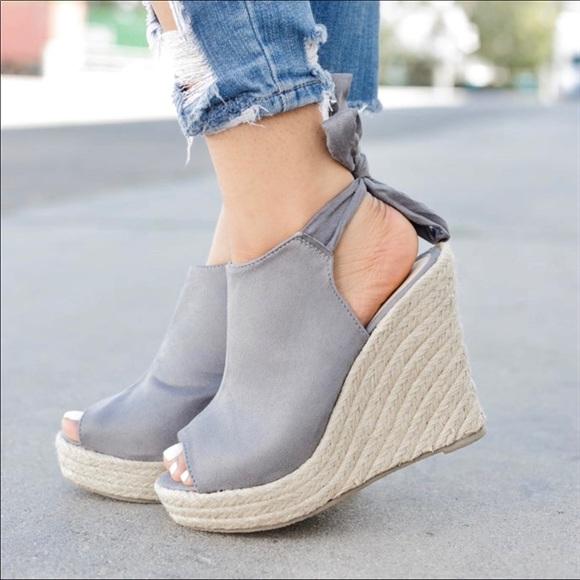 04e7e3508d SHOEROOM21 boutique Shoes | Newladies Grey Back Knot Espadrille ...